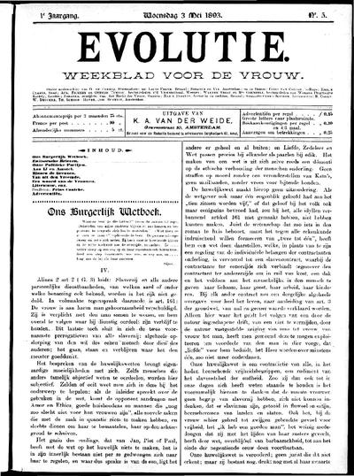 Evolutie: weekblad voor de vrouw, jaargang 01, nummer 05