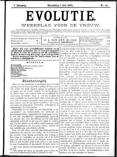 Evolutie: weekblad voor de vrouw, jaargang 01, nummer 14