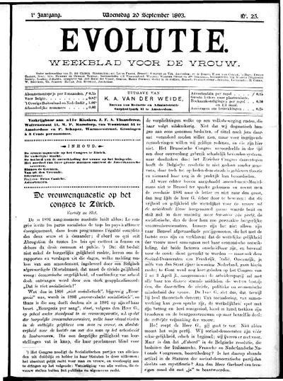 Evolutie: weekblad voor de vrouw, jaargang 01, nummer 25
