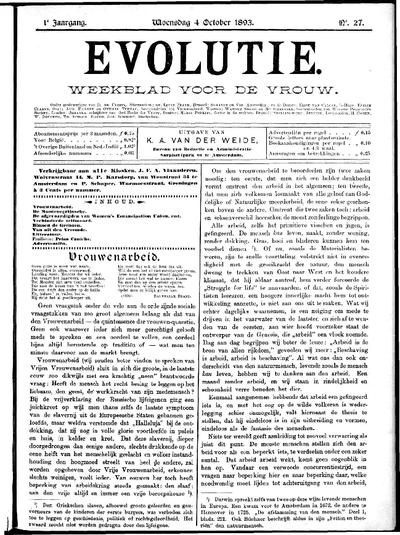 Evolutie: weekblad voor de vrouw, jaargang 01, nummer 27