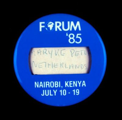 Button. 'Forum '85. Nairobi, Kenya, July 10-19'