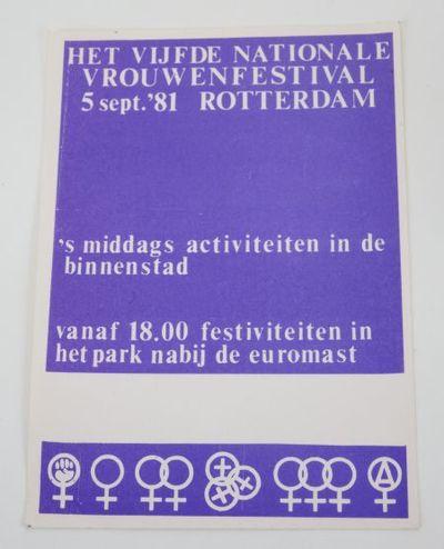 Sticker. 'Het vijfde nationale vrouwenfestival'