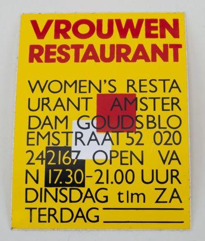 Sticker. 'Vrouwenrestaurant'