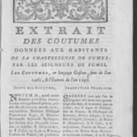Extrait des coutumes données aux habitants de la chastellenie de Fumel par les seigneurs de Fumel. Les coustumes, en langage gascon sont de l'an 1265 et l'Extrait de l'an 1297