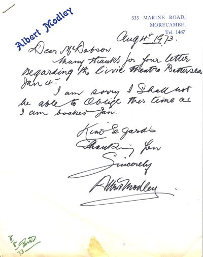 Letter from Albert Modley, 4 August 1973