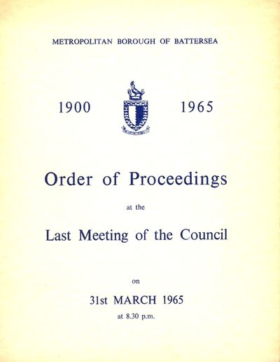 Order of Proceedings - last council meeting, 1965