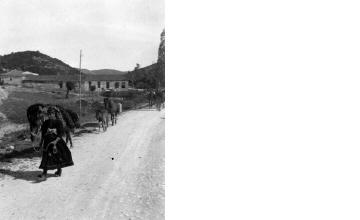 Γυναίκα με παραδοσιακή ενδυμασία και γαϊδούρια. Γύρω στα 1935 Έλλη Παπαδημητρίου (ΦΑ_19_627)