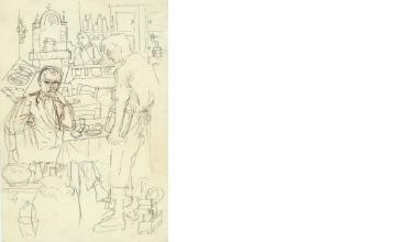 Νίκος Χατζηκυριάκος-Γκίκας (ΠΧΓ1636) Προσχέδιο για την εικονογράφηση του ποιήματος του Κ. Π. Καβάφη: «Το 25ον έτος του βίου του», 1963 Καφέ μολύβι σε χαρτί, 0,25 x 0,175 μ. Μουσείο Μπενάκη - Πινακοθήκη Γκίκα, Αθήνα