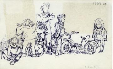 Νίκος Χατζηκυριάκος-Γκίκας (ΠΧΓ3248) Παιδιά με μπάλα και ποδήλατο, 1972 Μελάνι σε χαρτί, 0,11 x 0,176 μ. Μουσείο Μπενάκη - Πινακοθήκη Γκίκα, Αθήνα