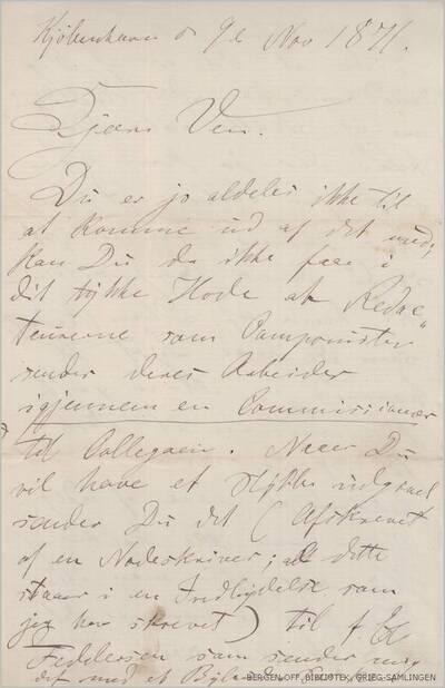 Brev, 1871 11.09, Kjøbenhavn, til Edvard Grieg