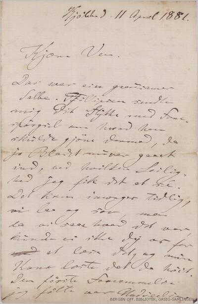 Brev, 1881 09.11, Kjøbenhavn, til Edvard Grieg