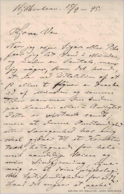 Brev, 1895 09.15, Kjøbenhavn, til Edvard Grieg