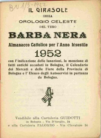 Calendario Fiere Bologna.Omnia Per L Anno 1952 Con L Indicazione Delle Lunazioni