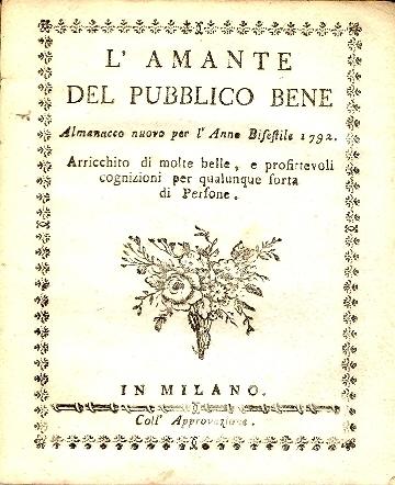 L'amante del pubblico bene : almanacco nuovo ...
