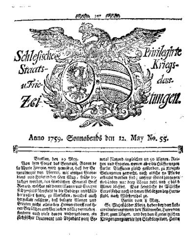 Schlesische Privilegirte Staats- Kriegs- und Friedens-Zeitungen. 1759-05-12 [Jg.18] Nr 55