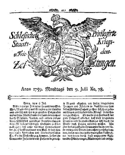 Schlesische Privilegirte Staats- Kriegs- und Friedens-Zeitungen. 1759-07-09 [Jg.18] Nr 78