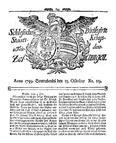 Schlesische Privilegirte Staats- Kriegs- und Friedens-Zeitungen. 1759-10-13 [Jg.18] Nr 119