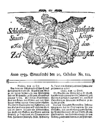 Schlesische Privilegirte Staats- Kriegs- und Friedens-Zeitungen. 1759-10-20 [Jg.18] Nr 122
