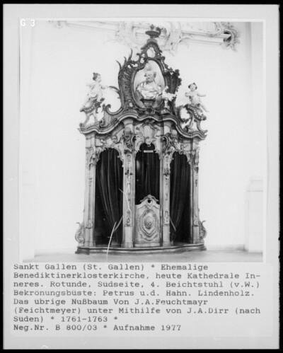 4. Beichtstuhl mit Bekrönungsbüste, biblische Szenen zur Reue, Vergebung und Buße oder Heiligenfiguren: Petrus und der Hahn