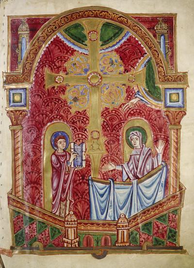 Bernward-Bibel — Der heilige Bernward überreicht seine Bibel der Jungfrau Maria, Folio fol. 1r