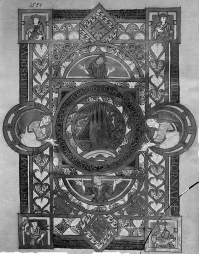 Uta-Evangelistar — Mystische Verehrung der Hand Gottes durch vier bekrönte weibliche Halbfiguren und die vier Kardinaltugenden, Folio 1verso