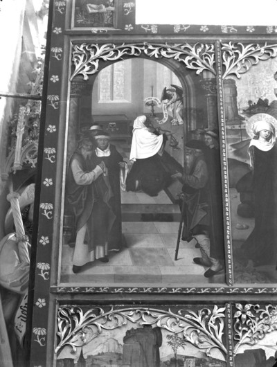 Altar in erster Öffnung — Szenen aus dem Leben Johannes des Täufers — Linker Außenflügel: Vier Szenen aus dem Leben des Heiligen — Die Verkündigung an Zacharias im Tempel