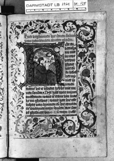 Tagzeiten und Gebete — Initiale H (eer en beruspe) mit König David, Folio 125recto