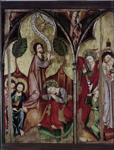 Hofgeismarer Passionsretabel — Linker Flügel - Christus am Ölberg und seine Gefangennahme — Christus am Ölberg