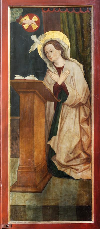 Geisenheimer Dreikönigsaltar — Verkündigung an Maria — Maria mit Dextera Dei und dem Heiligen Geist als Taube