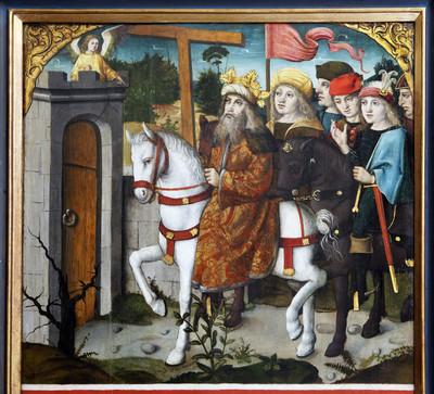 Kreuzretabel — rechter Altarflügel — Auffindung des heiligen Kreuzes