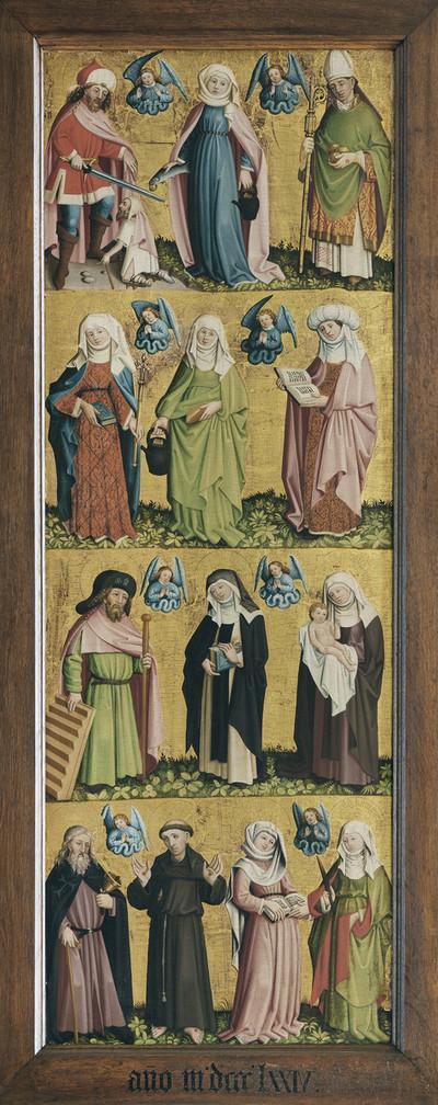 Marienaltar — Dreizehn Heilige — Die drei Heiligen Martin, Elisabeth von Thüringen und Nikolaus von Myra