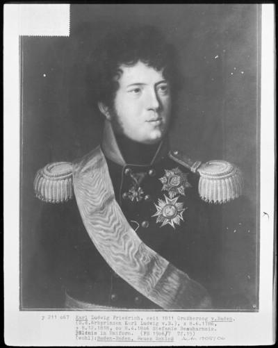 Karl Ludwig Friedrich, seit 1811 Großherzog von Baden. Bildnis in Uniform