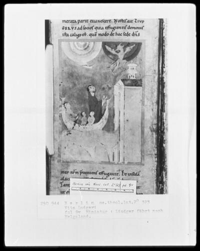 Leben des heiligen Liudger — Liudger fährt nach Helgoland, Folio 10recto