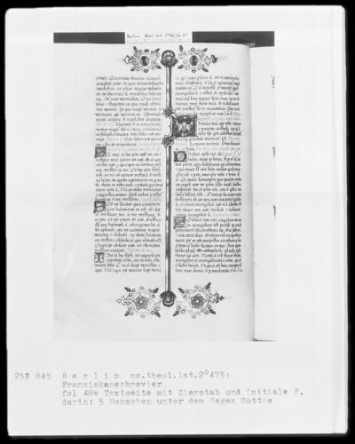 Franziskanisches Brevier — Initiale F, darin fünf Menschen unter dem Segen Gottes, Folio 48verso