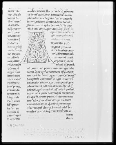Expositio psalmorum Aurelii Augustini — Initiale A(b exordio), Folio 75recto