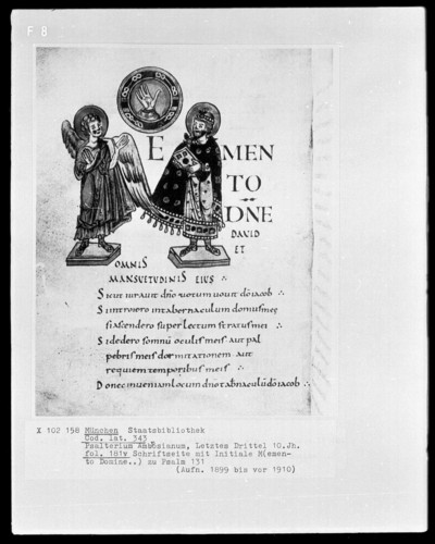 Psalterium Ambrosianum — Initiale M (emento Domine), Folio 181verso