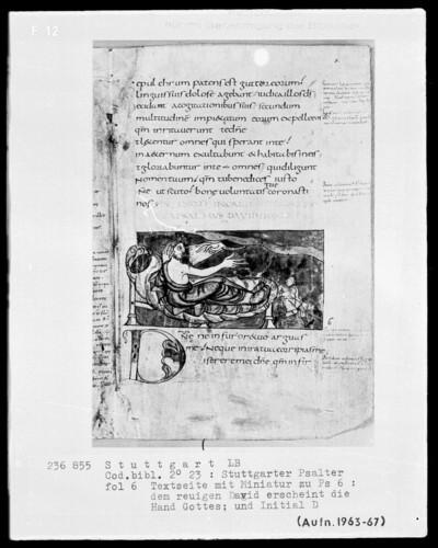 Der Stuttgarter Bibelpsalter — David auf dem Krankenlager wird von Gott geheilt, Folio 6recto
