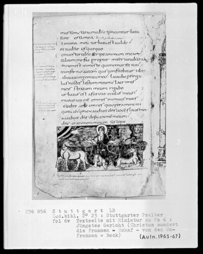 Der Stuttgarter Bibelpsalter — Christus scheidet die Böcke von den Schafen, Folio 6verso