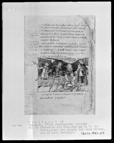 Der Stuttgarter Bibelpsalter — Der Gerechte, im Staub sitzend, wird von Gott geschützt, Folio 7verso