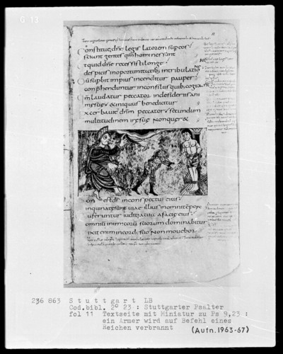 Der Stuttgarter Bibelpsalter — Ein armer Mann soll auf Befehl eines stolzen Mannes verbrannt werden, Folio 11recto