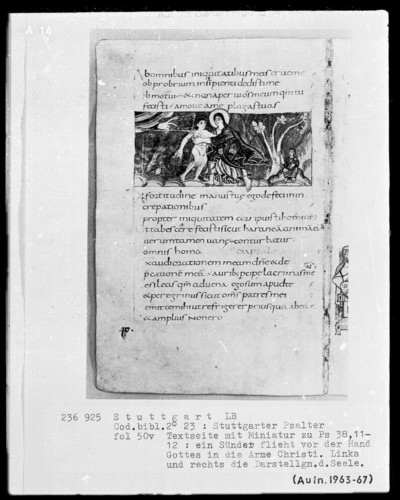 Der Stuttgarter Bibelpsalter — Die Erschaffung des Menschen durch Christus, Folio 50verso