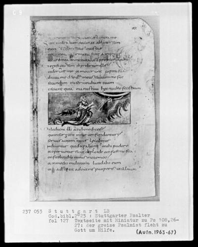 Der Stuttgarter Bibelpsalter — Der Gerechte betet zur Hand Gottes, Folio 127recto