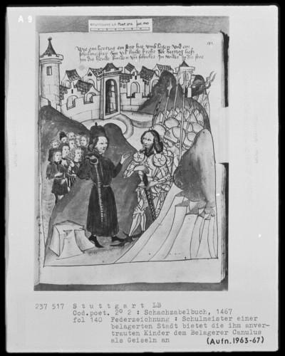 Schachzabelbuch des Konrad von Ammenhausen — Ein römischer Heerführer schickte Kinder, die ihm als Geiseln angeboten wurden, zurück, Folio 140recto