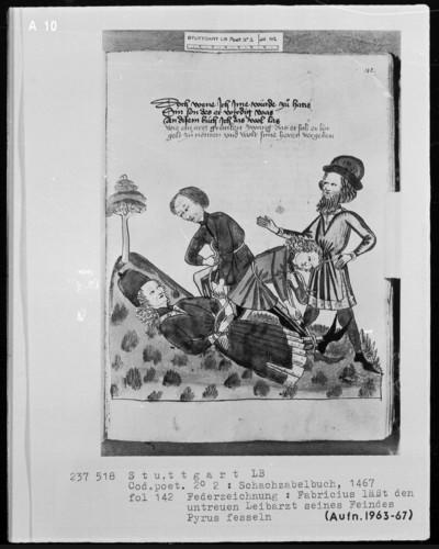 Schachzabelbuch des Konrad von Ammenhausen — Der Gerechtigkeitssinn des Gaius Fabricius Luscinus, Folio 142recto