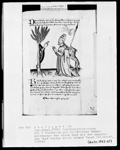 Pseudo-Joachim von Fiore und Telesphorus von Cosenza, Papstprophezeiungen, sowie Heinrich von Langenstein, De Antichristo et Schismate — Vor einem Baum mit der segnenden Hand Gottes kniet Papst Celestin 5. (1294), Folio 3recto