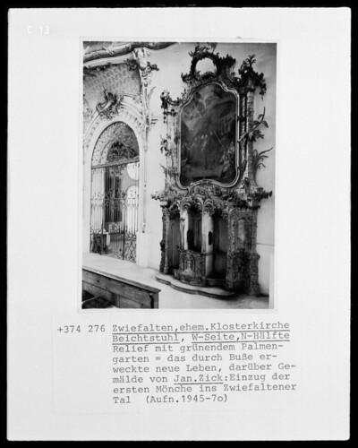 Beichtstuhl mit Relief mit grünendem Palmengarten (das durch Buße erweckte neue Leben) und Gemälde: Einzug der ersten Mönche ins Zwiefaltener Tal