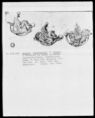 Entwürfe für drei Anhänger mit Seepferden und Hahn