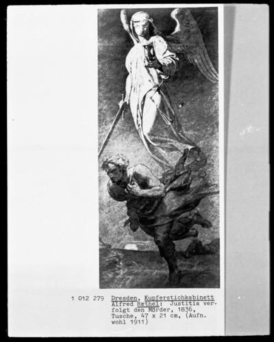 Justitia verfolgt den Mörder