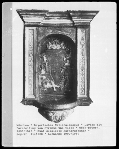 Lavabo mit Darstellung von Pyramus und Tisbe, Hafnerkeramik