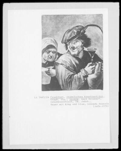 Bauer mit Krug und Glas; lesende Bäuerin